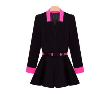 New Korean OL Women Pleated Blazer Deep V-Neck Slim Jacket Button Coat Black