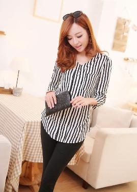 Neue Mode Damen Shirt Knöpfe Epaulette V-Ausschnitt drei Viertel Ärmel kurze schlanke Bluse schwarz & weiß