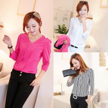 New Fashion Women Shirt Buttons Epaulette V-neck Three Quarter Sleeves Brief Slim Blouse Black & White