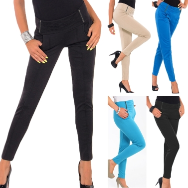 Hot Women Stretch Trousers Zipper Decoration Skinny Slim Pencil Pants Leggings Black