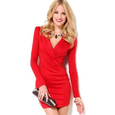 Sexy Women Bodycon Dress Deep V-Neck Long Sleeve One-piece Mini Dress Red/Black/Rose/White/Blue