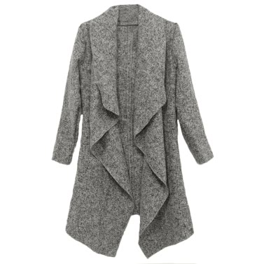 New Fashion Women Coat Drape Open Front Asymmetric Hem Long Sleeve Casual Outerwear Grey