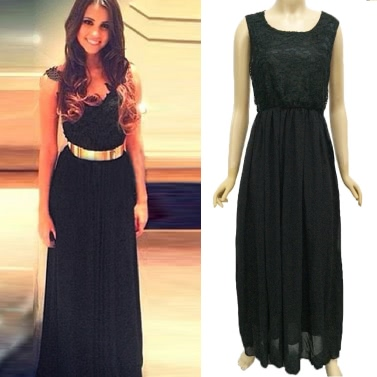 Buy Sexy Women Chiffon Dress Floral Lace Mesh Patchwork Round Neck Sleeveless Nightclub Evening Gown Long Black
