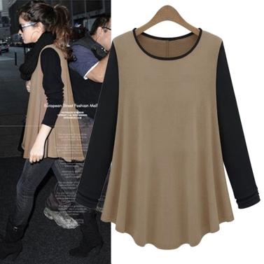 Neue Mode Frauen T-shirt Kontrast Patchwork O-Neck lässige Bluse Langarmshirts Kaffee & schwarz
