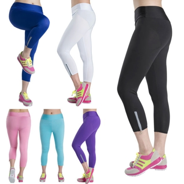 New Fashion Women Capri Leggings Slim Waist Candy Color Zipper Cuff Cropped Pants Yoga Running Tights