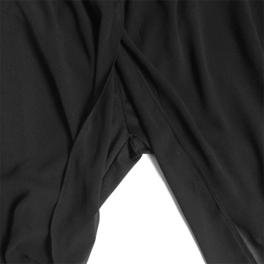Fashion Women Casual Trousers Chiffon Overlay Elastic Waist Stretch Cuff Capri Bloomers Pants Black