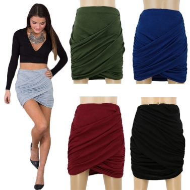 New Fashion Women Skirt Fold Stretch Waist Wrap Front Asymmetric Hem Elastic Clubwear Sexy Mini Skirt