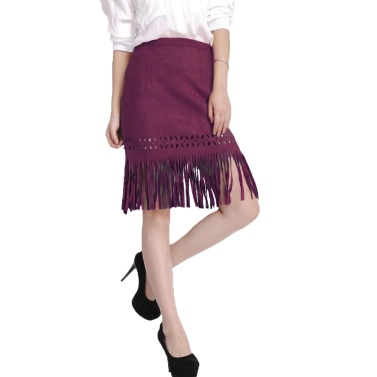 Vintage Faux Suede Hollow Out Slim Zipper Flapper Skirt for Women