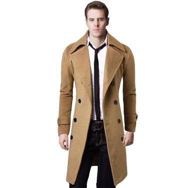 Herren stilvolle Trenchcoat Winter Jacke Double Breasted Mantel