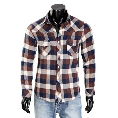 Mens Check Dress Shirt Plaid