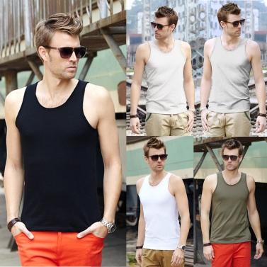Fashion Men Tank Tops Round Neck Sleeveless Sports Causal Vests White