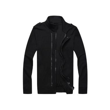 Neue Mode Männer zwei Reißverschlüsse Schulterklappen Langarm schlanke dünne Mantel Oberbekleidung Jacke
