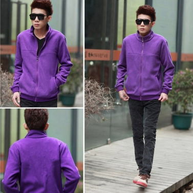 Fashion Men Thin Coat Stand Collar Long Sleeves Zipper Solid Color Casual Jacket Outerwear Blue