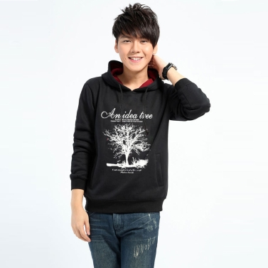 New Fashion Men Hoodies Tree Letter Print Long Sleeve Sport Casual Pullover Tops Black