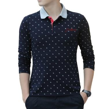Mode lässig Männer T-Shirt Anchor Print lange Ärmel Turn-Down-Kragen-schlank-Tops
