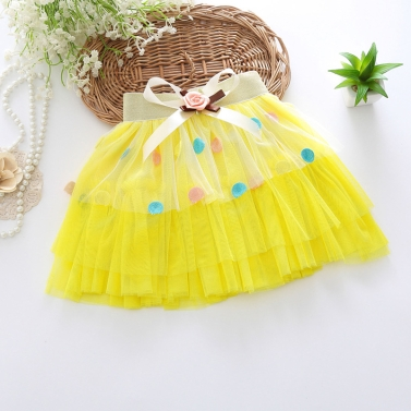 Fashion Girls Tiered Tulle Skirt Elastic Waist Decorative Bow Embroidery Dot Pattern Children Kids Tutu Pettiskirt Pink/Purple/Yellow