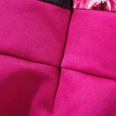 New Fashion Girls Dress Floral Printed Crew Neck Short Sleeves Frill Hem Back Zipper Dress Rose