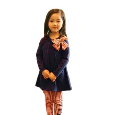 Neue Mode-Kinder-Mädchen Kleidung Set Bowknot Pullover Tops gestreift Hose Pink/Marineblau