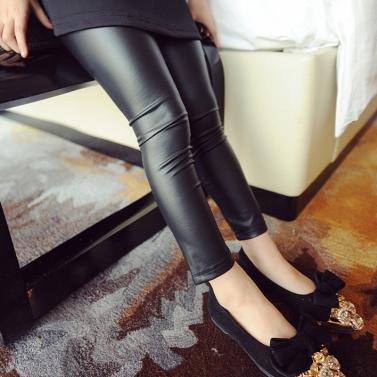 New Kids Girls Stretchy Leggings Faux PU Leather Elastic Waist Skinny Pants Trousers Black