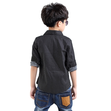 New Fashion Kids Boys Shirt Polka Dot Turn-Down Collar Long Sleeve Casual Blouse Top