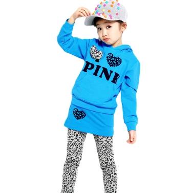 Nettes Baby Mädchen passen Brief Print Leopard Spleißen herzförmige Dekoration Hoodie Culottes blau setzt