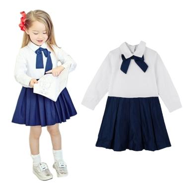 Mode Kinder Mädchen Kleid Bowknot Button Turn-Down-Kragen langarm Kleid weiß Befestigung