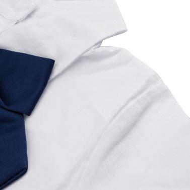 Fashion Children Girl Dress Bowknot Button Fastening Turn-Down Collar Long Sleeve Dress White