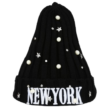 New Unisex Women Men Beanie Hat Letter Embroidery Pearl Star Solid Warm Hip-Hop Cool Knitted Cap Headwear