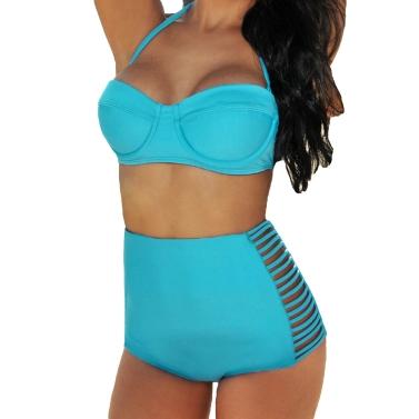 Sexy Frauen Bikini Set Push-Up-gepolsterte Bandeau hohe Taille ausgeschnitten Schlitze Höschen Badeanzug Bademode