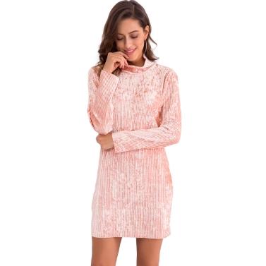 Mode Frauen Velvet High Neck Bleistift Kleid Langarm Party Club Elegant Slim Mini Kleid Rosa