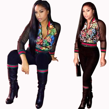 Women Two Piece Set Bomber Jacket Pants Floral Print Mesh Stripes Stand Collar Casual Suits Black
