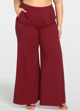 Women Plus Size Wide Leg Pants High Waist Casual Loose Trousers Pockets Solid Flare Pants Burgundy