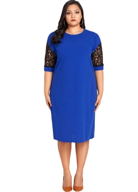 Women Sexy Plus Size Dress Splice Color Lace O Neck Short Sleeve Elegant Slim Dress Blue