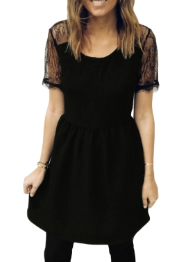 Sexy Women Lace Splice Dress Short Sleeves Backless O-Neck Zip Party Club Mini Dresses Black