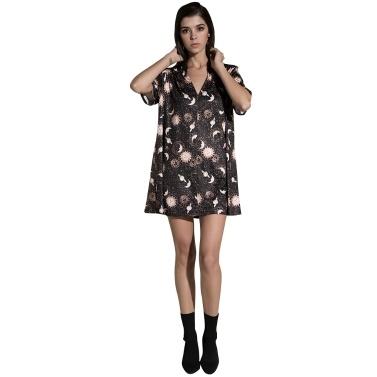 Vintage Frauen Mini lose Kleid mit kurzen Ärmeln V-Ausschnitt Mond Planet Print beiläufige gerade T-Shirt Kleider schwarz
