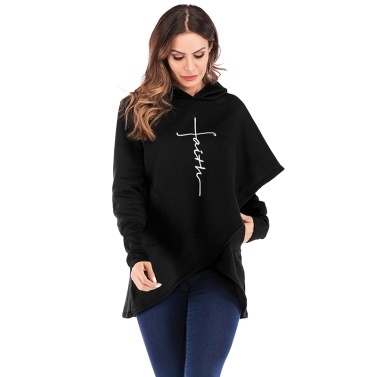 Fashion Women Hoodie Faith Letter Print Asymmetric Casual Loose Coat Pullover Sweatshirts Hooded Tops