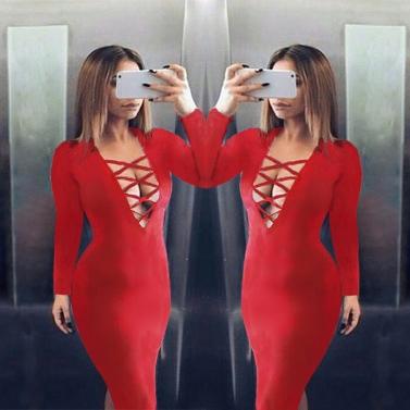 Neue Mode Damen Kleid stürzen V Ausschnitt Criss Cross Riemen vorne Langarm Bodycon Fit Sexy Midi einteilig
