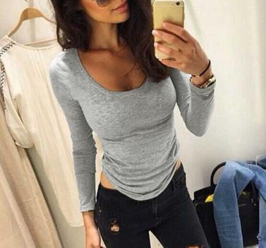 Fashion Women T-Shirt O Neck Long Sleeve Stretchy Casual Soft Sport Tops Tee Shirt Grey