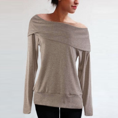 Fashion Women Loose Sweater Off Shoulder Slash Neck Long Sleeve Autumn Winter Warm Coat Tops Grey/Coffee