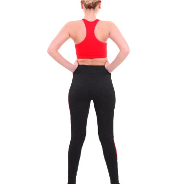 New Fashion Women Sport Leggings Stripe High Waist Yoga Fitness Gym Running Stretch Tights Long Pants Trousers