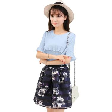 Neue Mode Frauen Zweiteiler mit Rüschen Flare Ärmel Chiffon Top Mesh Flower Print Gurt Spleißen süße Zweiteiliger Anzug Kleid rosa/blau