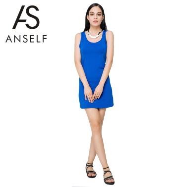 Neue Sexy Sommer Frauen Minikleid Volltonfarbe O Hals ärmellose elastischem Casual figurbetonten Strand Sommerkleid blau