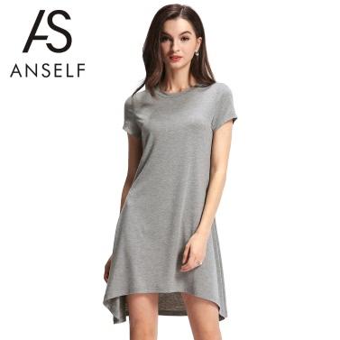 Mode Frauen verschieben Kleid asymmetrischer Saum O Neck Kurzarm solide lässig Minikleid grau