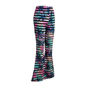 Mode Frauen schmale Hose Gummizug in der Taille Öse Mesh Fitness lange Hosen schlanke Leggings Rose/blau