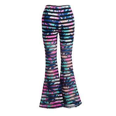 Fashion Women Bell-bottomed Pants Elastic Waist Eyelet Mesh Fitness Long Trousers Slim Leggings Rose/Blue