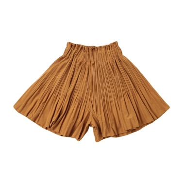 New Women Pleated Divided Skirts Wide Leg Pants Elastic High Waist Casual A-Line Pantskirt Culottes Red/Black/Khaki