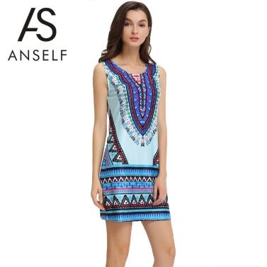 New Sexy Summer Women Mini Dress Geometric Print O Neck Sleeveless Vintage Casual Straight Sundress Blue