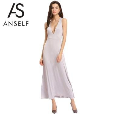 Neue Art und Weise Frauen-Spaghetti-Bügel Sleeveless aushöhlen rückenfreies Kleid-Sommer-beiläufige Sommerkleid Grau