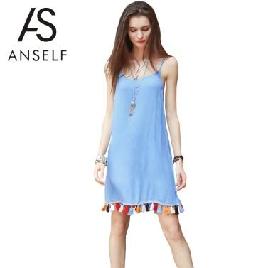 Frauen Cami Beleg-Kleid Tassel Trim-Spaghetti-Bügel-Sleeveless kurzes Minikleid-Blau