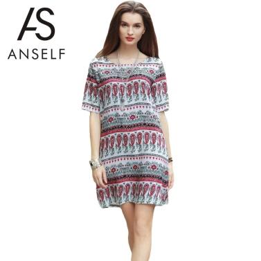 Frauen Boho Style-Stammes- Druck kurzes Kleid Sundress kurze Hülse Strand Boho Minikleid Rot